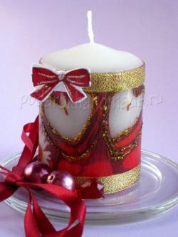 Декупаж свечей к дню Святого Валентина