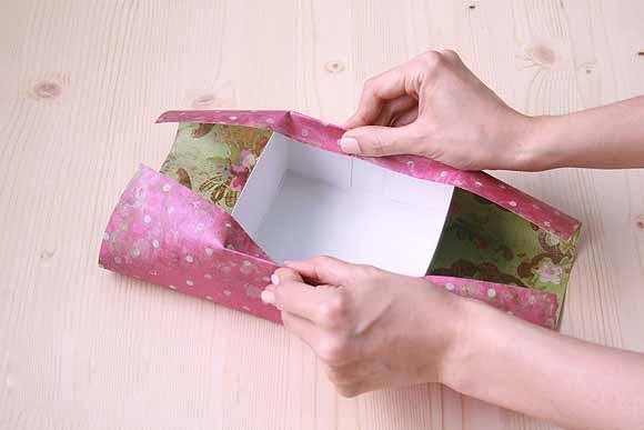 Как обклеить коробку бумагой схема