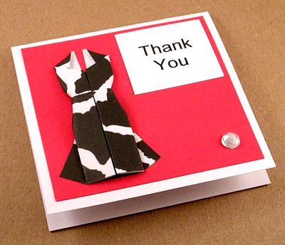 Открытка с платьем оригами от KittyKatkards
