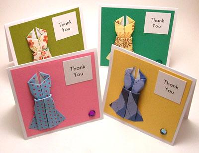 Открытки с платьями оригами от KittyKatkards