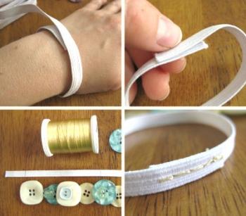 Как сделать браслет из пуговиц - шаг 1