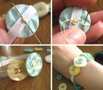 Как сделать браслет из пуговиц - шаг 2