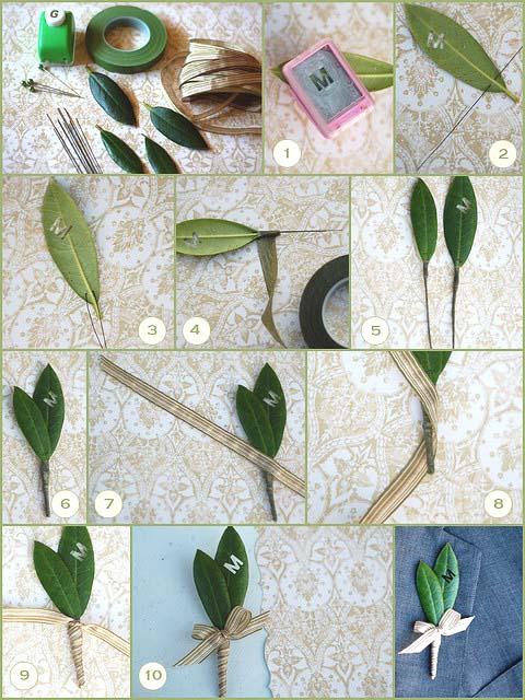 Как сделать бутоньерку из живых листьев