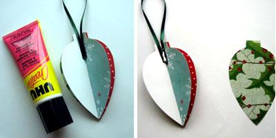 Новогодние украшения из бумаги - вставляем петельку из тесьмы
