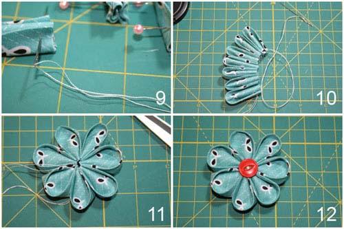 Как сделать круглый лепесток канзаши - собираем цветок