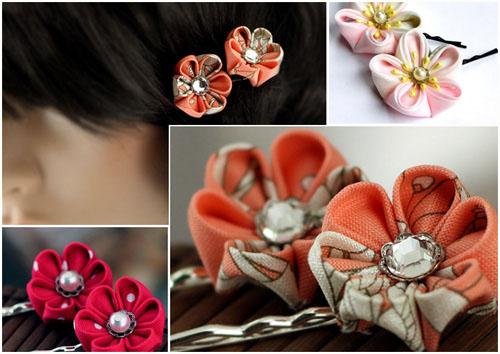 Канзаши - фото цветов с круглыми лепестками