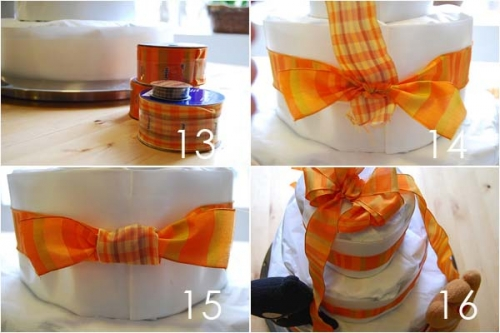 Как украсить торт из памперсов лентами и прочими принадлежностями