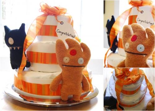Торт из памперсов, сделанный своими руками - оригинальный подарок для новорожденного