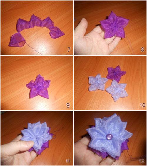 Цветок на повязку своими руками